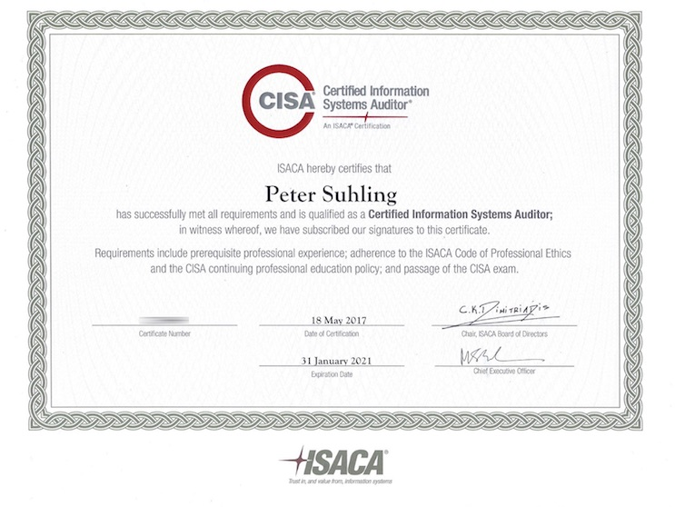 Peter Suhling ist Certified Information Systems Auditor