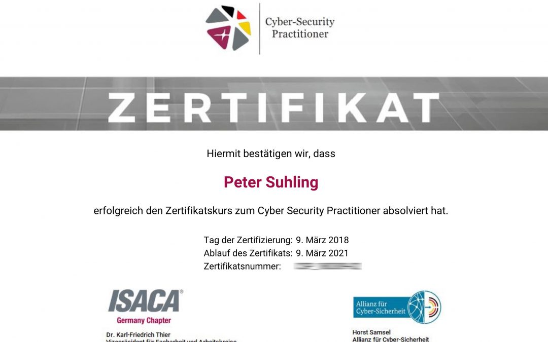 Zertifizierter Cyber Security Practitioner – Peter Suhling