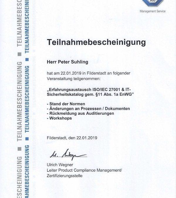 Erfahrungsaustausch ISO/IEC 27001 und IT-Sicherheitskatalog beim TÜV SÜD in Filderstadt