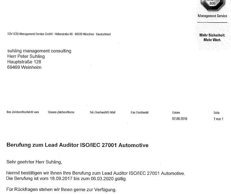 Berufung zum ISO 27001 Lead Auditor Automotive