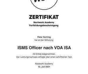 Zertifizierter ISMS Officer nach VDA ISA (TISAX) – Peter Suhling